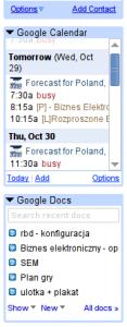 Google Calendar i Google Docs w Gmailu